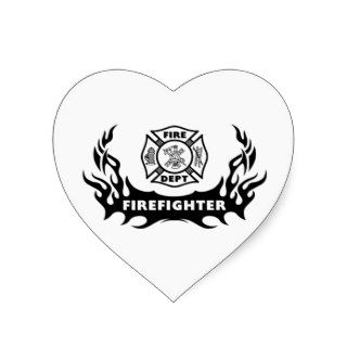 Firefighter Tattoo Heart Stickers
