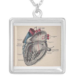 Antique human heart anatomy diagram necklaces