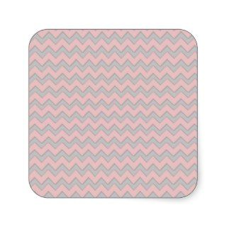 Cute Pink Gray Girly Modern Chic Chevron Pattern Square Stickers