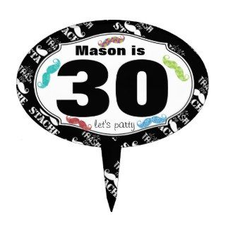 Mustache Mr. Hipster Vintage Retro 30th Birthday Cake Topper