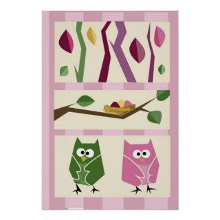 Girls Owl Wall Decor 2 Poster