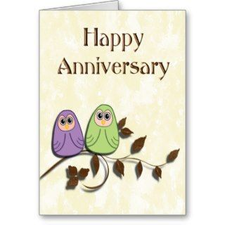 Happy Anniversary Pair of Cute Owls Card