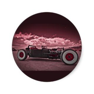 Rat Rod at Bonneville Round Stickers
