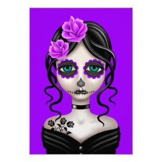 Sad Day of the Dead Girl on Purple Invitations