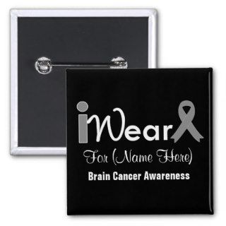 Personalize Grey Ribbon Brain Cancer Buttons