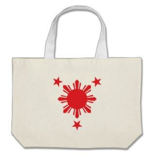 Filipino Basic Sun and Stars   Red Canvas Bag
