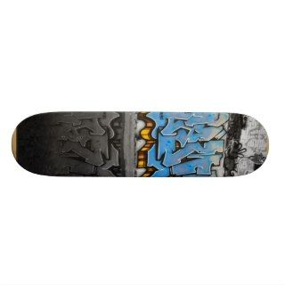 Blue graffiti skateboard