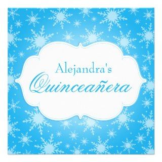Winter Wonderland Snowflakes Quinceanera Birthday Custom Invitation