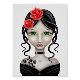 Sad Girl with Red Roses on White Print