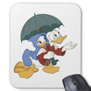 Donald and Daisy Duck under umbrella Fantasia rain Mouse Pads