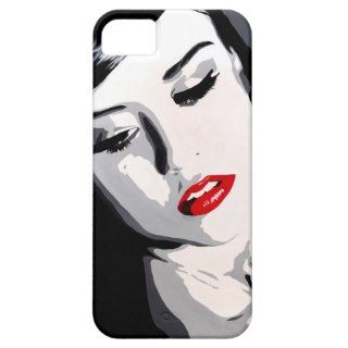 black & white pop art portrait The Lips Have It iPhone 5 Cases