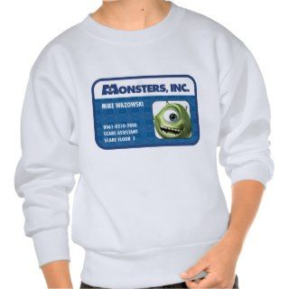 Monsters Inc. Mike Wazowski employee ID card Pull Over Sweatshirts