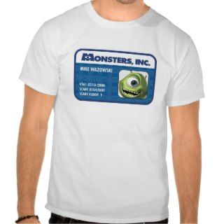 Monsters Inc. Mike Wazowski employee ID card T shirts