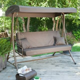 Siesta 3 Person Canopy Swing Bed   Chocolate   Porch Swings at
