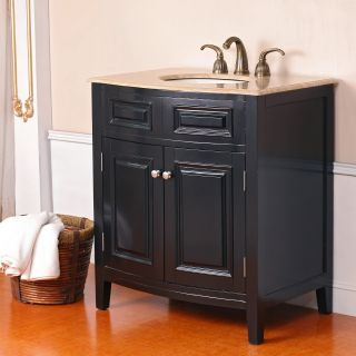 Virtu USA Seville 32 in. Balck Single Sink Bathroom Vanity LS 1023