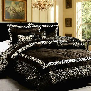 7pc Luxury Faux Fur Safarina Black White Zebra Animal Print Comforter King Set