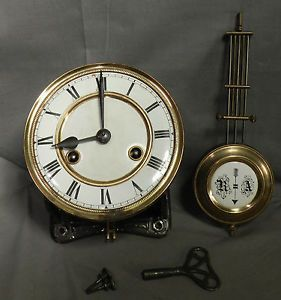 Antique Vienna Regulator Wall Clock Movement Works Porcelain Dial RA Pendulum
