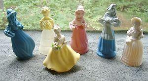 Avon Vintage Bottle Blue Lady Pink Figurine Woman