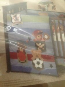 Lams Ivy Wee Rascal Sports 5 Piece Crib Bedding Baby Boy