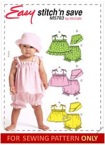 Sewing Pattern Make Baby Girl Clothes Top Pants Sailor Hat Size Small x Large