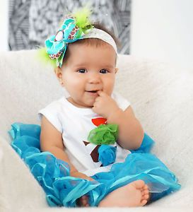 New Blue Tutu Birthday Dress Skirt Baby Girl Party Time Kids Clothes Sz 12 18M