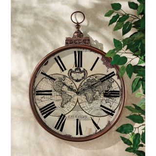 """32 5"""" Grand Scale Double Hemisphere Map of The World Metal Frame Wall Clock"""