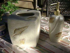 Ceramic Bath Accessories Beach Haven Soap Dispenser Tissue Box Cover Shells
