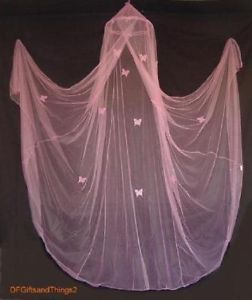 Girls Butterfly GID Baby Nursery Bed Crib Net Canopy