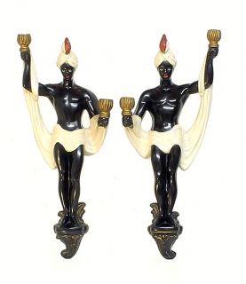 Stunning Vintage Blackamoor Nubian Mid Century Chalkware Large Candle Sconces PR