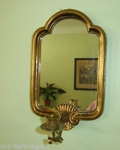 French Country Tole Italian Italy Gold Gilt Wall Candle Holder Mirror Sconce