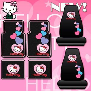 6pc Hello Kitty Car Mats Seat Covers Accessories Set