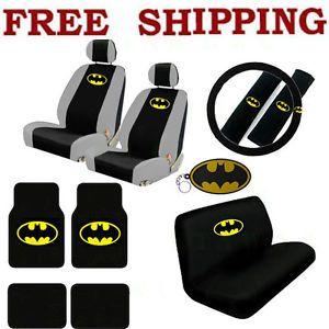 New 16pc Set Batman Car Seat Covers Steering Wheel Cover Floor Mats Key Chain