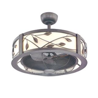 """Allen Roth 22"""" Aged Bronze Cream Shade Ceiling Fan with Light Kit"""