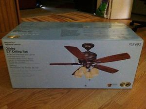 """Hampton Bay Oakley 52"""" Ceiling Fan Transitional Collection with Light Kit"""