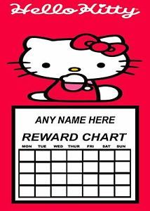 Hello Kitty Personalised Reward Chart with 50 Stickers