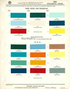 1961 Ford and GMC Truck Paint Color Chart PPG 61