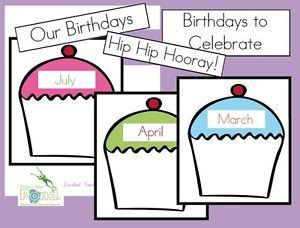 Classroom Birthday Poster Chart Teaching Resource PDF on