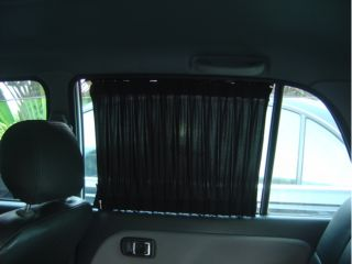New 2pcs 50cm Luxury Black Auto Car Curtains Window Shade Visor Sunshade Valance