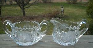 Vintage Antique Cut Glass Crystal Sugar Bowl Creamer