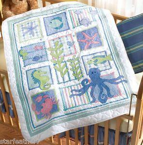 Bucilla Deep Blue Sea Fish Seahorse Crib Cover Baby Quilt Cross Stitch Kit