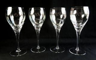 Set of 4 Nachtmann Crystal Bavaria Swing Water Goblet Glasses Germany New