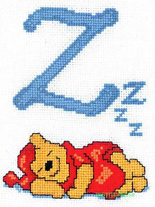 Disney Winnie Pooh Cross Stitch Kit Alphabet Letter Z