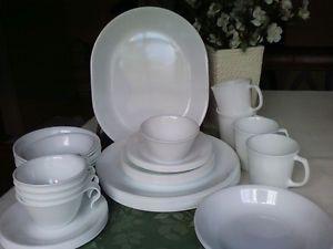 42pc Set Corelle Winter Frost White Dinnerware Plates Bowls Cups Platter Etc ... & Corelle Jasmine Dinnerware Lot Plates Bowls 9 Pcs
