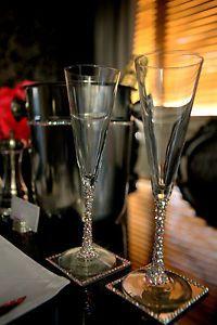Beautiful Swarovski Crystal Champagne Flutes Glasses AB Crystal Wedding Gift