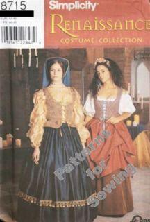 Pattern Sewing Simplicity Woman Renaissance Costume Skirt Blouse Sz4 8 Halloween