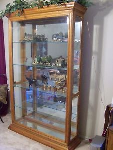 Wood and Glass Lighted 5 Shelf Curio Cabinet 6 ft Tall