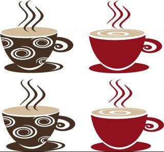 Coffee Tea Cups Mugs Vinyl Decal Wall Sticker Kitchen Dining Room Decor