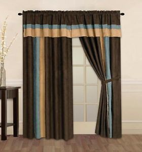 New Brown Blue Suede Curtain Valance Panels Liner Tie Backs Set New