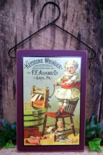 Laundry Room Sign Wood Plaque Wall Hanging Vintage Wringer Advertising Label