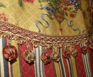 French Country Custom Valance Curtain Waverly Floral Toile Stripe Red Gold Trim